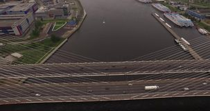 Cable-stayed bridge in St. Petersburg, Russia over the Neva River stock footage