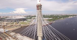 Cable-stayed bridge in St. Petersburg Russia over the Neva River.  stock video footage