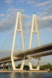 Cable-Stayed Bridge in St.Petersburg. Stock Photo