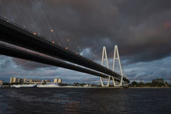 Cable stayed bridge at stormy day. Stock Photos