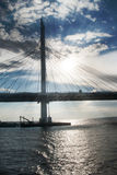 Cable-stayed bridge in summer day Royalty Free Stock Image
