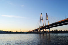Cable-stayed bridge before sunset Stock Image