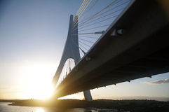 Cable-stayed bridge. At sunset royalty free stock photo