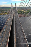 Cable stayed bridge, view from above, aerial view. Royalty Free Stock Photography