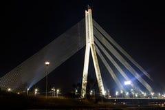 Cable-stayed bridge. The view at night.Riga-Latvia stock photo