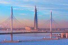 The cable-stayed bridge is the western high-speed diameter, and the tallest skyscraper in Europe - Lakhta center at sunset in wint. Er in St. Petersburg. Russia Stock Images