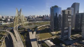 Cable-stayed bridge in the world. São Paulo Brazil, South America, the city`s symbol Stock Photos