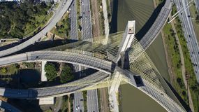 Cable-stayed bridge in the world. São Paulo Brazil, South America, the city`s symbol Royalty Free Stock Photos