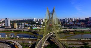 Cable-stayed bridge in the world, São Paulo Brazil stock video