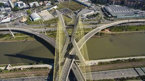 Cable-stayed bridge in the world. São Paulo Brazil, South America, the city`s symbol Stock Image
