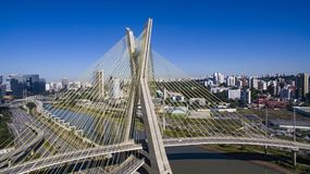 Cable-stayed bridge in the world. São Paulo Brazil, South America, the city`s symbol Royalty Free Stock Images