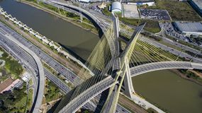 Cable-stayed bridge in the world. São Paulo Brazil, South America, the city`s symbol Royalty Free Stock Photo