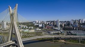 Cable-stayed bridge in the world. São Paulo Brazil, South America, the city`s symbol Royalty Free Stock Photography