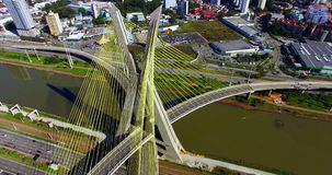 Cable-stayed bridge in the world, São Paulo Brazil, South America. The city`s symbol stock footage