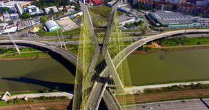 Cable-stayed bridge in the world, São Paulo Brazil stock video footage