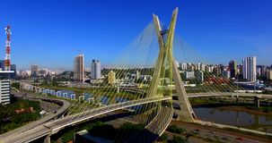 Cable-stayed bridge in the world, São Paulo Brazil, South America stock video