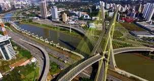 Cable-stayed bridge in the world, São Paulo Brazil, South America. The citys symbol stock video footage