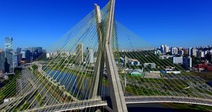 Cable-stayed bridge in the world, São Paulo Brazil, South America. The citys symbol stock footage