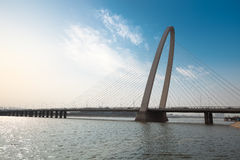 Cable stayed bridge in xian royalty free stock photo