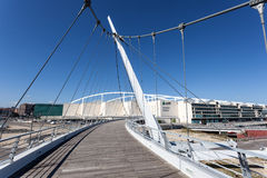 Cable-stayed pedestrian bridge in Zaragoza Royalty Free Stock Photo