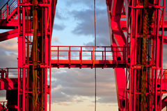 Cable-stayed red bridge. Stock Photos