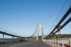Cable-stayed road bridge. France Royalty Free Stock Images