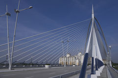Cable-stayed Seri Wawasan Bridge. Crossing over Putrajaya Lake has dual three lane carriageways and was constructed with steel and concrete that connects Stock Photography