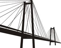 Cable-stayed suspension bridge. Black silhouette, vector isolated  illustration on white background Stock Photos