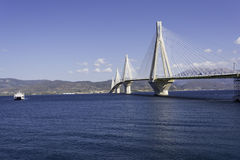 Cable-stayed suspension bridge crossing Corinth Gulf strait, Greece Royalty Free Stock Photo