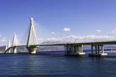 Cable-stayed suspension bridge crossing Corinth Gulf strait, Greece Stock Photo