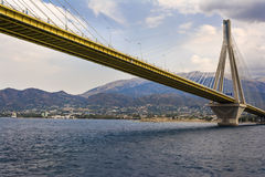 Cable-stayed suspension bridge crossing Corinth Gulf strait, Greece Royalty Free Stock Image