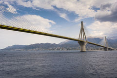 Cable-stayed suspension bridge crossing Corinth Gulf strait, Greece Royalty Free Stock Images