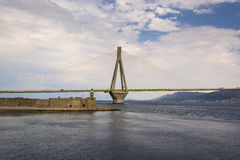 Cable-stayed suspension bridge crossing Corinth Gulf strait, Greece Royalty Free Stock Photos