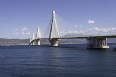 Cable-stayed suspension bridge crossing Corinth Gulf strait, Greece Stock Photos