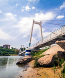 Cable-stayed suspension pedestrian bridge Royalty Free Stock Photo