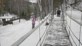 Cable suspension bridge stock video