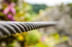 Cable. Suspension cable which enhances the depth of field Stock Photos