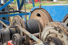 Cable system of pile driver machine Royalty Free Stock Images