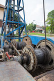 Cable system of pile driver machine Stock Photography