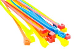 Cable ties of plastic royalty free stock photos