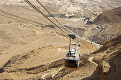 Cable to ancient fortress Masada. Royalty Free Stock Photo