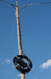 Cable to the mast. And blue sky royalty free stock photo