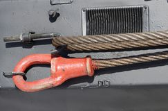 Cable for towing the car. Steel cable is used for towing auto.It is heavy and very durable Royalty Free Stock Image