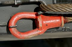 Cable for towing the car. Steel cable is used for towing auto.It is heavy and very durable Stock Photo
