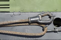 Cable for towing the car. Steel cable is used for towing auto.It is heavy and very durable Royalty Free Stock Photo