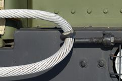 Cable for towing the car. Steel cable is used for towing auto.It is heavy and very durable Stock Photography