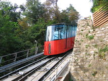 Cable train 1. Cable train on Schloßberg Austria Stock Photo