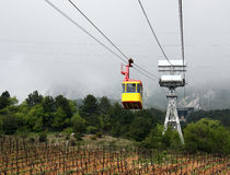 Cable tramway. Cabin over fields Stock Photo