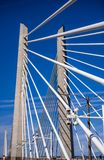 Cable Transportation and pedestrian Tilikum Crossing Bridge across Willamette river in Portland Oregon with blue sky stock photo