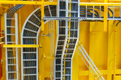 Cable tray with electrical wiring arrange on ceiling at offshore Stock Photos